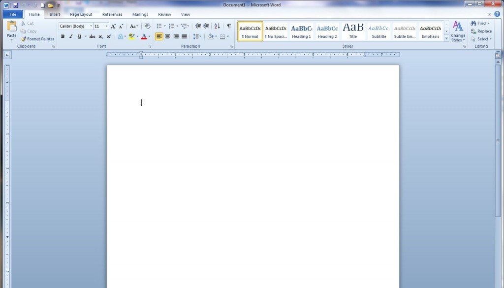 Word 2010 Screen 1